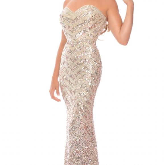 Dresses   Gold Sequin Prom Dress   Poshmark